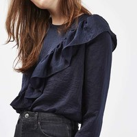 Satin Ruffle Blouse