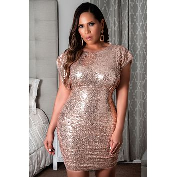 Amber Short Sleeve Ruched Sequin Pencil Mini Dress