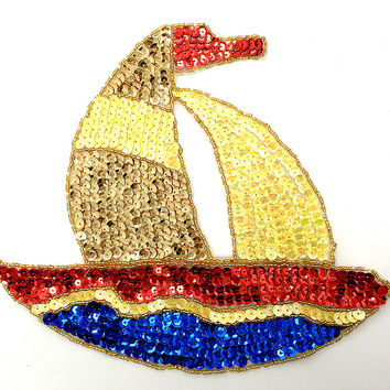 "5 PACK - Sailboat with Multi-Colored Sequins and Beads 9"" x 8"""