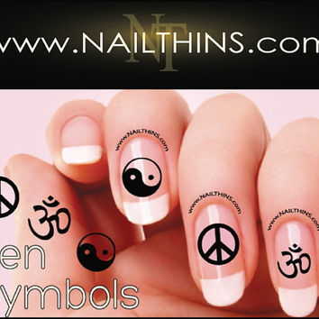 Om Peace Ying Yang Nail Decal  Zen symbol Nail Designs NAILTHINS Nail art design