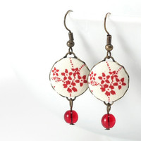 Fabric Covered Buttons Earrings - Red Cherry Blossoms Japanese Flowers Jewelry - Burgundy Beige Dangle Earrings with Red Czech Glass Beads