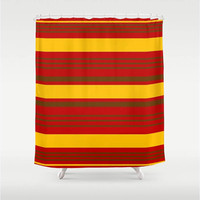 "Red,Yellow,Brown Stripes Shower Curtain 71"" X 74"",Bathroom Decor,Pattern,Cheerful,Style,Home Decor,Nautical"