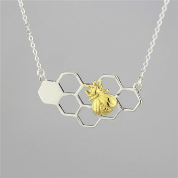 Gold Honey Bee Necklace, Sterling Silver Bee necklace,Bee charm Necklace,Honeycomb Necklace,honeycomb charm,Bee Jewelry,gift for her