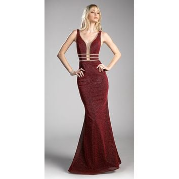 Burgundy Sheer Cut Out Bodice Mermaid Prom Gown Open Back