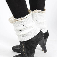 Audrey Lace Accent Short Knit Legwarmers in Ivory