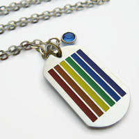 LGBT Pride Necklace, Stainless Steel Dog Tag Pendant, Personalized Rainbow Birthstone Necklace, Equality Necklace, Gay Pride Jewelry