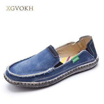 New Men Jeans Canvas shoes Breathable High Quality Shoes Slip On Men's Fashion Flats