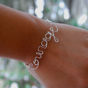 Courage Bracelet - Silver Wire Courage Bracelet - Inspiration Jewelry - Encouragement - Courage Jewelry - Wire Word Jewelry