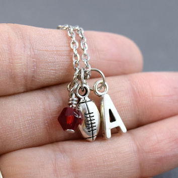 Football Necklace - Personalized Football Necklace - Football Girlfriend - Birthstone Necklace - Football Jewelry - Sports Jewelry