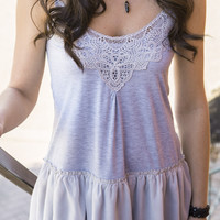 When I'm Gone Gray Ruffle Tank