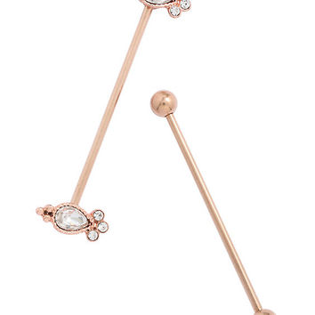 14G Steel Gold Clear CZ Filigree Industrial Barbell 2 Pack