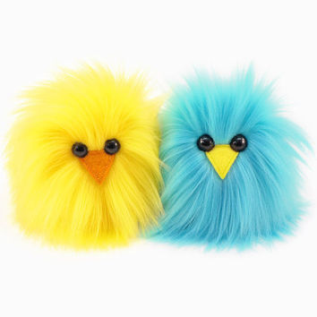 Pair of Chicks Yellow and Aqua Blue Micro Peeps Plush Stuffed Toy Animals Kawaii Plushie Snuggly Cuddly Fuzzy Toy Small 3x2 Inches