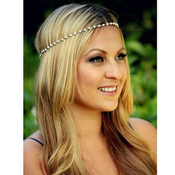 Bohemian Women Metal 5mm Imitation Pearl Elasticity Bands Head Chain Jewelry Forehead Headband Hair Accessories Headpiece A00436