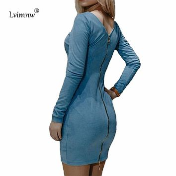 Lvimnw Casual Faux Suede Leather Dress 2017 Autumn Winter Women Long Sleeve Back Zipper Dresses Sexy Party Bodycon Dress