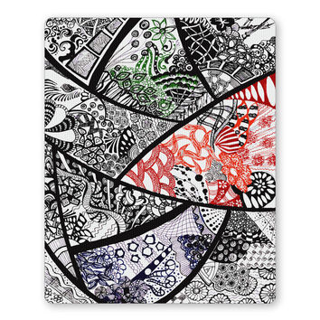 Cute Line Art Doodle Black, Red and Green Mouse Pad