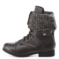 Sweater-Lined Fold-Over Combat Boots by Charlotte Russe - Black