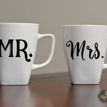 His and Hers Mug Set, Mr and Mrs Mug Set, Wedding Gift, Coffee Wedding Gift, Custom Coffee Mug, Married Coffee Mugs, Mr and Mrs