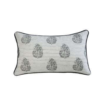 Black and White Embroidered Lumbar Pillow Cover