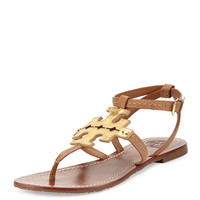 Tory Burch Phoebe Leather Flat Sandal, Tan/Gold