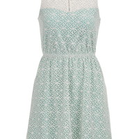 Floral Lace Overlay Dress - Sea Green Combo