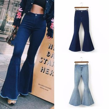 Fashion High Waist Flare Jeans Women Bell Bottom Denim Ladies Skinny Jeans Retro Female Wide Leg Pants Trousers