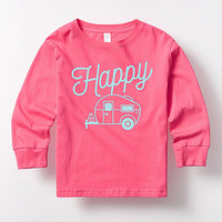 Hot Pink 'Happy Camper' Long-Sleeve Tee - Toddler & Girls