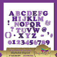 80% OFF Sale WILD About Purple Alphabet Digital Scrapbooking, Instant Download, Printable, Commercial use, Patterns