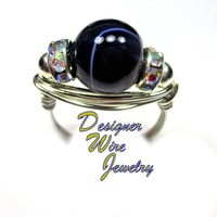 DWJ0289 Purple Stripe Agate Solitaire Silver Wire Wrap Ring All Sizes