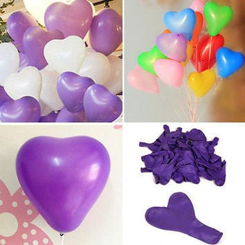 200pc Heart-Shaped Latex Balloons Home Room Wedding Party Birthday Decoration TB