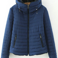 Hooded Quilting Striped Coat with Zipper and Pocket