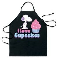 """ICup Peanuts Snoopy """"I Love Cupcakes"""" Apron in Black"""