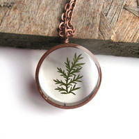 Tiny Fern Resin Pendant Necklace - Real pressed fern encased in resin - Copper Pipe Jewelry - Pressed Flower Jewelry - Resin Necklace