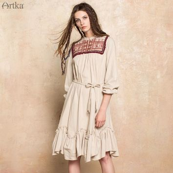 ARTKA 2017 Autumn New Women Cotton Vintage Embroidered Fringed Weave Ethnic Retro Loose Dress LA10377Q