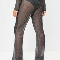 Missguided - Black Sparkle Metallic High Waisted Pants