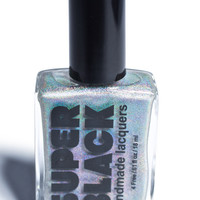SUPER BLACK Wishful Thinking Top Coat Nail Polish Holographic Silver One