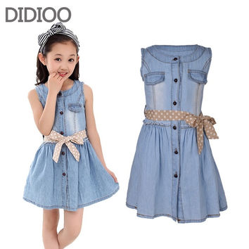Children Clothing Girls Dresses Summer Fashion Style Sleeveless Denim Dress for Girls Clothing Teens Sundress kids clothes = 1930180356