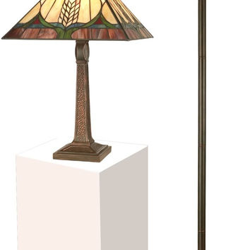 """0-010518>1-Light Tiffany 22"""" Table and 72"""" Torchiere Set Lamp Antique Brown"""