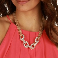 Gold Twisted Rhinestone Necklace