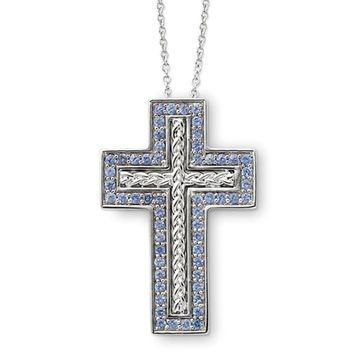Sterling Silver December CZ Birthstone Cross Necklace, 18 Inch