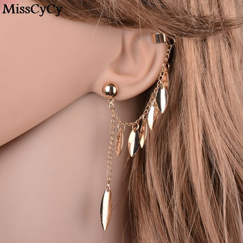 MissCyCy Plated Gold Earrings For Women Bohemia Jewelry 2016 Fashion Alloy Leaves Tassel Ear Cuff Clip Earrings From India
