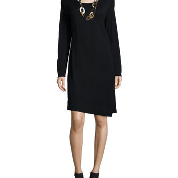 Long-Sleeve Merino Jersey Asymmetric Dress, Petite, Size: