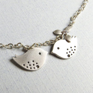 Silver Bird Necklace Love Birds Necklace Sparrow Necklace Rhinestone Flower Two Birds