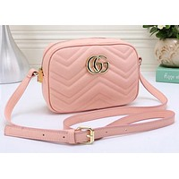 Gucci Fashion Ladies Personality Double G Leather Shoulder Bag Crossbody Satchel Pink I