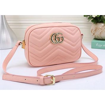 Gucci Fashion Women Leather Shoulder Bag Crossbody Satchel Pink G