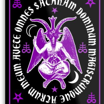 Satanic Baphomet Posters, Canvas & Metal Art Prints with latin Hail Satan Text.  Pagan satanism satanic cross goth wall decoration.