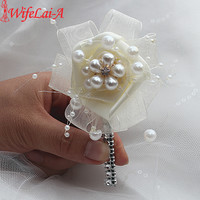 2piece/lot Pearl Beaded Ivory Boutonniere