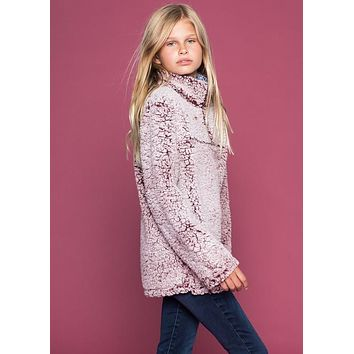 2018 Fall Fuzzy Soft Fleece Pullover With Side Pockets Burgandy