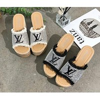 LV Newest Popular Women Diamond Thick Soles High Heels Sandals Slippers