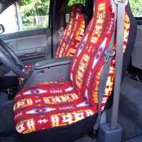 1 Set of Canyon Red Native Print Custom Made Car Seat Covers.
