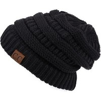 New Womens CC Thick Cap Hat Skully Unisex Slouch Color Cable Knit Beanie